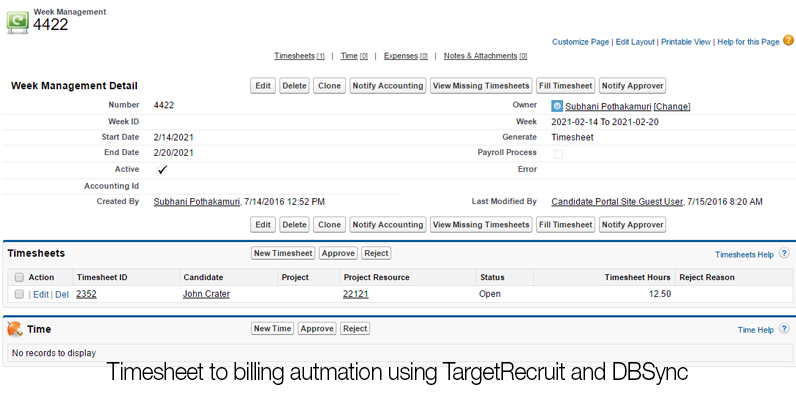 Timesheet to billing autmation using TargetRecruit and DBSync_01