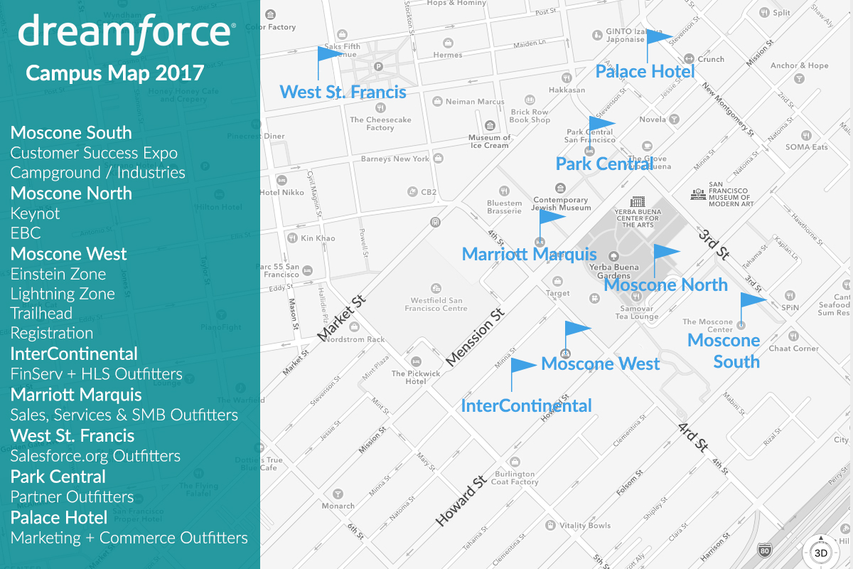 Dreamforce campus map, Moscone Center