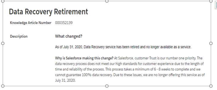 Salesforce no longer to provide data recovery